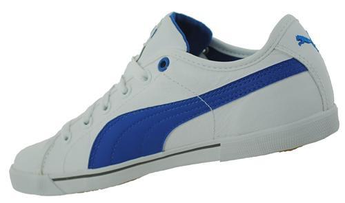 Puma Benecio Leather Unisex Sport Freizeit Sneaker Weiß/Blau – Bild 2