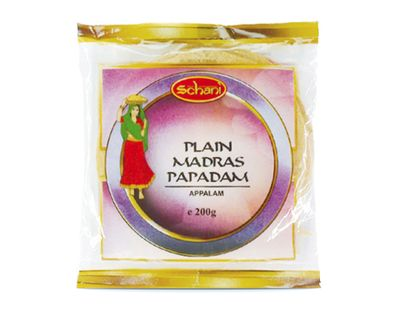 "Schani - Plain Madras Papadam Lentils Patties 6"" - 200g"
