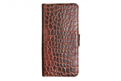 KMS - Valenta Handytasche Booklet Croco Brown iPhone5