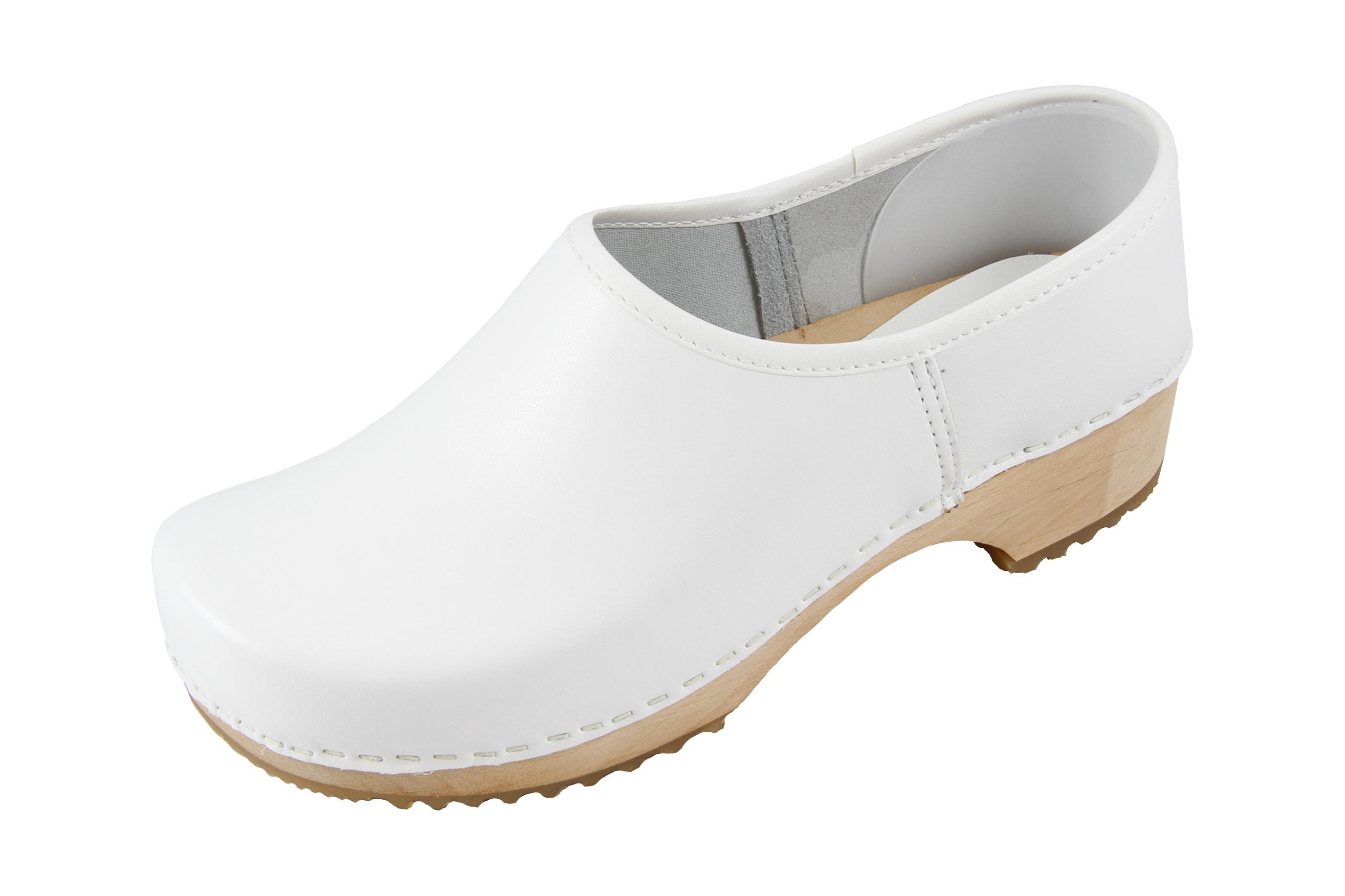 Legno Naturale Bianco : Design danese zoccoli chiuso bianco con suola in legno naturale