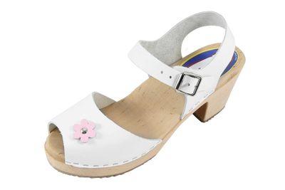 Carlotti Design Clogs Helena weiß mit rosa Blume