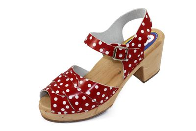 Carlotti Design Clogs Lilly rot gepunktet