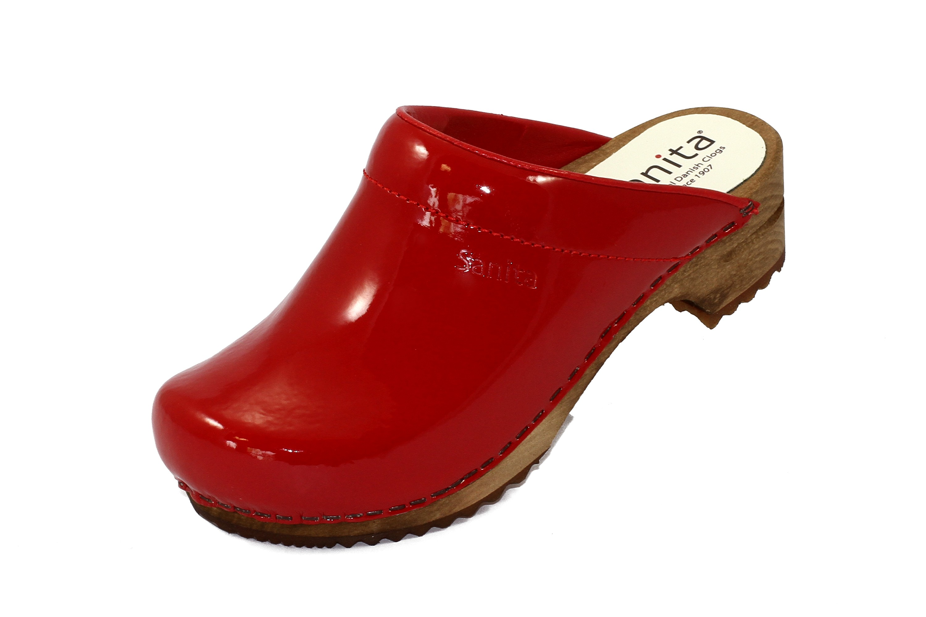 sanita designer clogs classic in rot gl nzend mit holzsohle offen shopverkaufsware schuhe. Black Bedroom Furniture Sets. Home Design Ideas