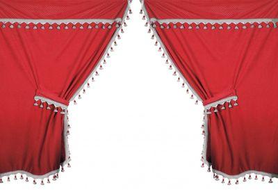 Premiere LKW Gardinen-Set aus Mikrofaser in rot