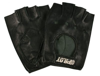 Pilot Handschuhe aus Naturleder, Halbfinder Größe M, schwarz