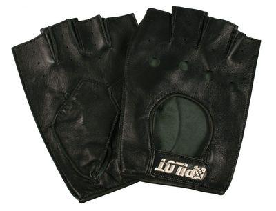 Pilot Halbfinger Leder-Handschuhe schwarz Gr. XL