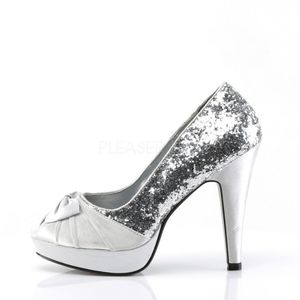 BETTIE-10, Pumps Open Toe silber Glitter Satin – Bild 3