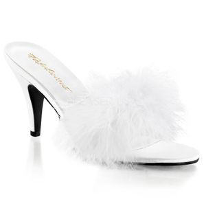 AMOUR-03, Marabu Slipper Mules weiss Satin