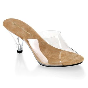 BELLE-301, Elegante Stiletto Mules klar tan