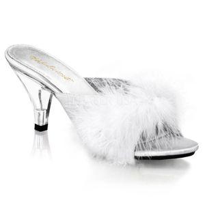 BELLE-301F, Elegante Stiletto Mules weiß Satin Kunstfell