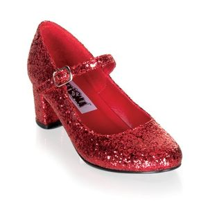 SCHOOL GIRL-50G, Mary Jane Spangenpumps rot Glitter Outlet