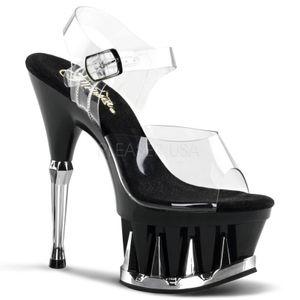 SPIKY-608, Sandalette Haifischplateau transparent schwarz metall