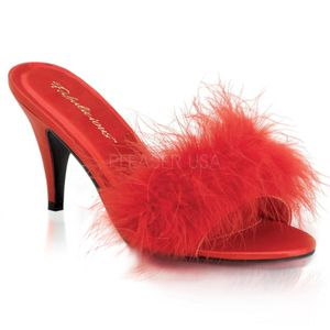 AMOUR-03, Marabu Slipper Mules rot Satin