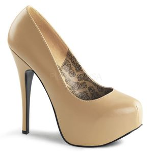 TEEZE-06, Klassische Burlesque Plateau Pumps beige Lederlook