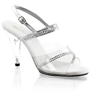 CARESS-439, Strass Riemchen Sandale, transparent metallic