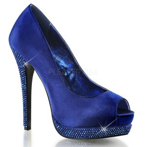 BELLA-12R, Satin Plateau Peeptoes mit Strass in royalblau
