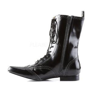 BROGUE-10, Spitze wadenhohe Männer Oxford Stiefel, schwarz Nappa, vegan – Bild 1