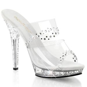 LIP-102RS, Transparente Strass Party Mules