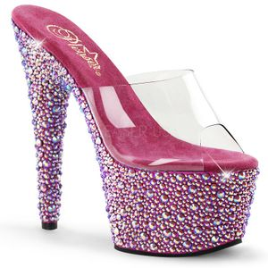 BEJEWELED-701MS, Design Plateaumules mit Strass transparent rot