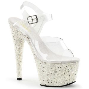 Pearlize-708 Design Plateausandale mit Strass transparent weiss