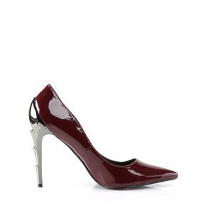 VOL01, Spitze Stilettos mit blitzförmigen Chromabsatz, burgundy Lack – Bild 4
