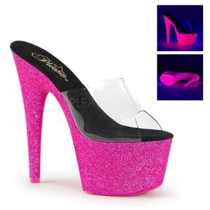 ADORE-701UV, Mules mit Glitterplateau (UV), transparent neonpink