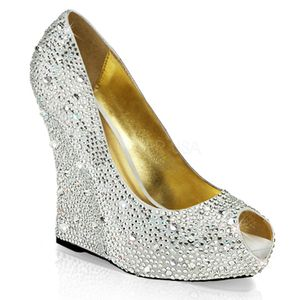 ISABELLE-18, Keil Plateau Peep Toe Pumps mit Strass, silber
