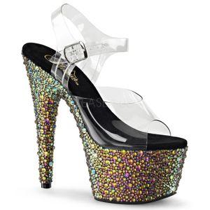 Bejeweled-708MR, Luxus Strass Sandale mit Plateau klar schwarz grün, Outlet