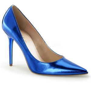 Classique-20, Modische Spitze Stiletto Pumps in metallic blau Look