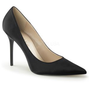 Classique-20, Modische Spitze Stiletto Satin Pumps in schwarz