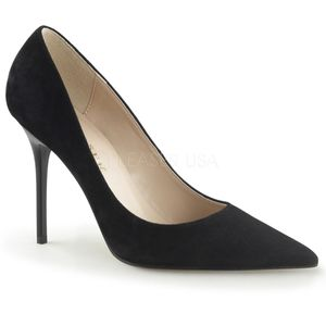 Classique-20, Modische Spitze Stiletto Velourleder Pumps in schwarz