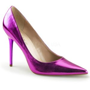 Classique-20, Modische Spitze Stiletto Pumps in metallic violettem Look