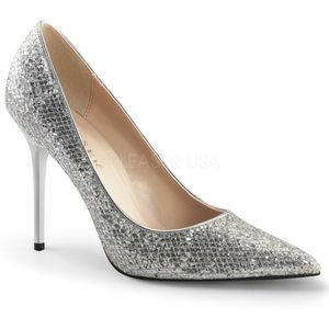 Classique-20, Modische Spitze Stiletto Pumps in silber Pailletten Glitter Look