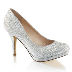 COVET-02, Plateau Pumps mit Strass dekoriert, silber, Outlet