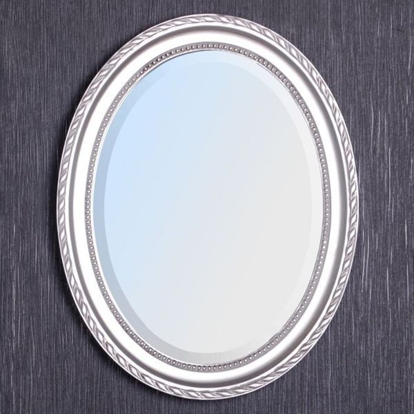 Spiegel LEILA silber-antik 37x47cm oval Barock – Bild 7