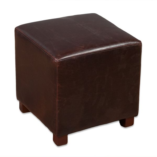 Hocker HOME Dark-Brown 35x35cm Spalt-Leder