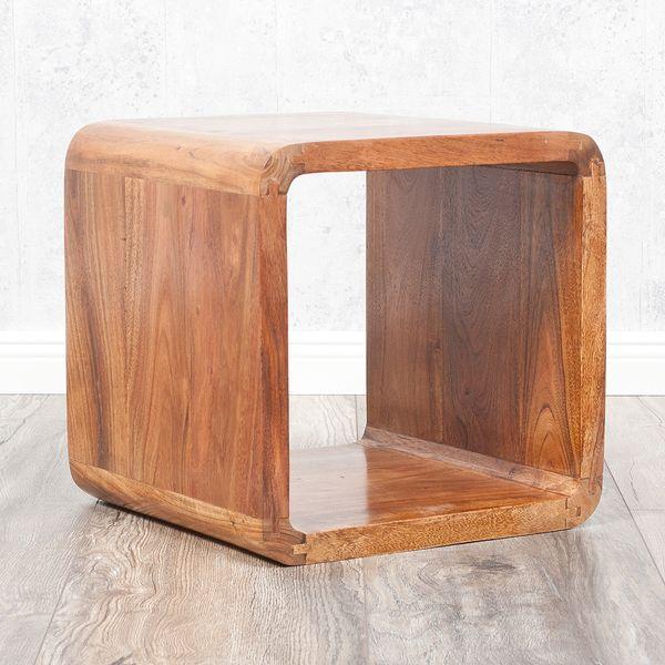 Cube LALITA Stone-A 35x35cm Akazie Massivholz Couchtisch/Beistelltisch – Bild 2