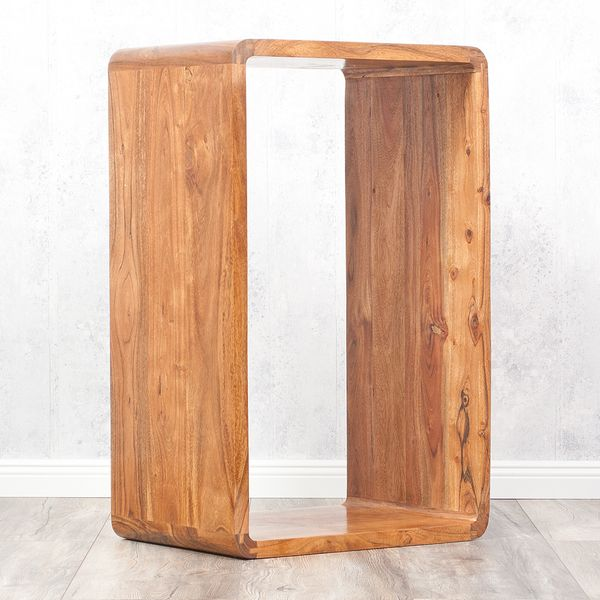 Cube LALITA Stone-A 80x50cm Akazie Massivholz Couchtisch/Beistelltisch – Bild 4