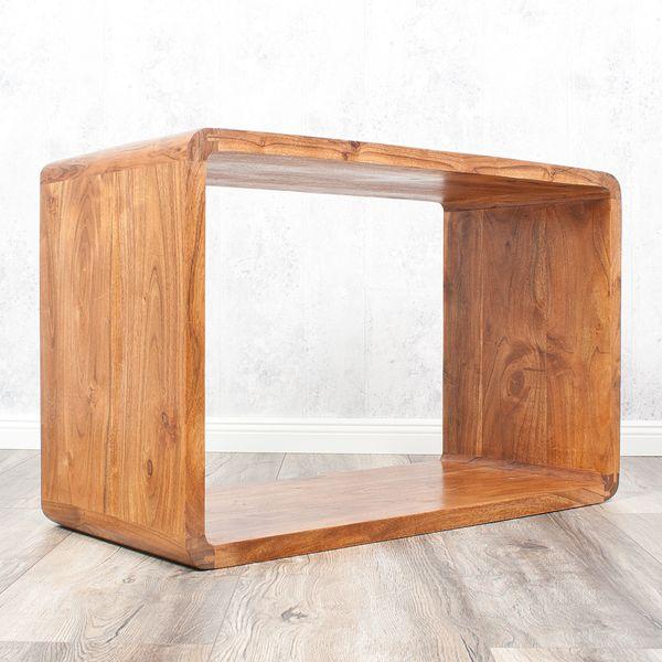 Cube LALITA Stone-A 80x50cm Akazie Massivholz Couchtisch/Beistelltisch – Bild 5