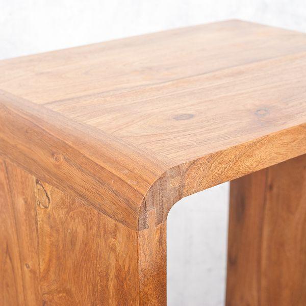 Cube LALITA Stone-A 80x50cm Akazie Massivholz Couchtisch/Beistelltisch – Bild 3