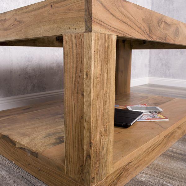 Couchtisch SHIVA Stone-A 90x60cm Akazie Massivholz TV-Board – Bild 7