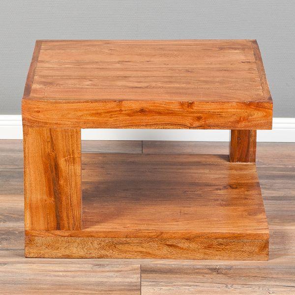 Couchtisch SHIVA Natural-A 60x60cm Akazie Massivholz Beistelltisch – Bild 7