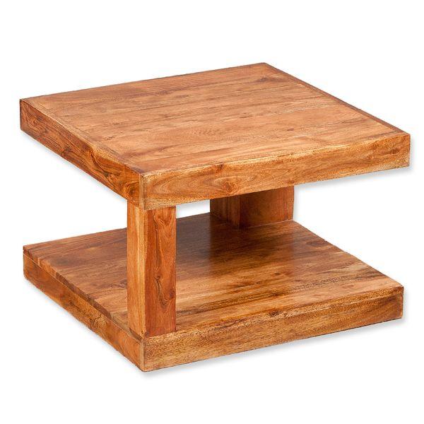 Couchtisch SHIVA Natural-A 60x60cm Akazie Massivholz Beistelltisch – Bild 1