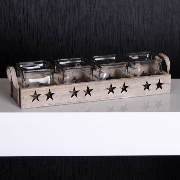 Set Teelichthalter mit Kerzengläsern STERNE Braun – Bild 7