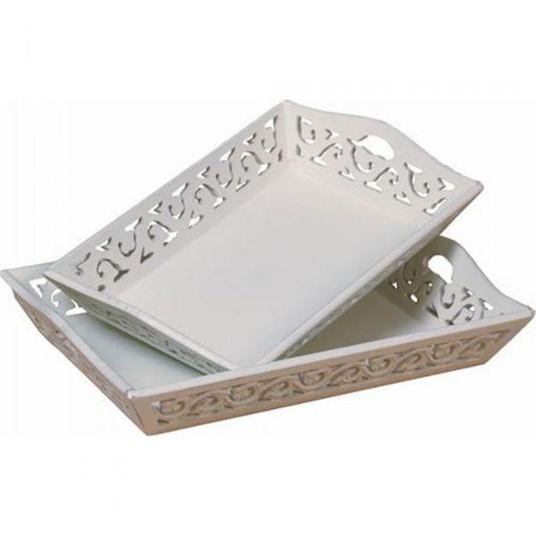 Tablett ROSALI Landhaus/Shabby Chic Weiß 46cm
