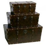 Truhe/Koffer Dunkelbraun im Vintage Design 71x37cm 001