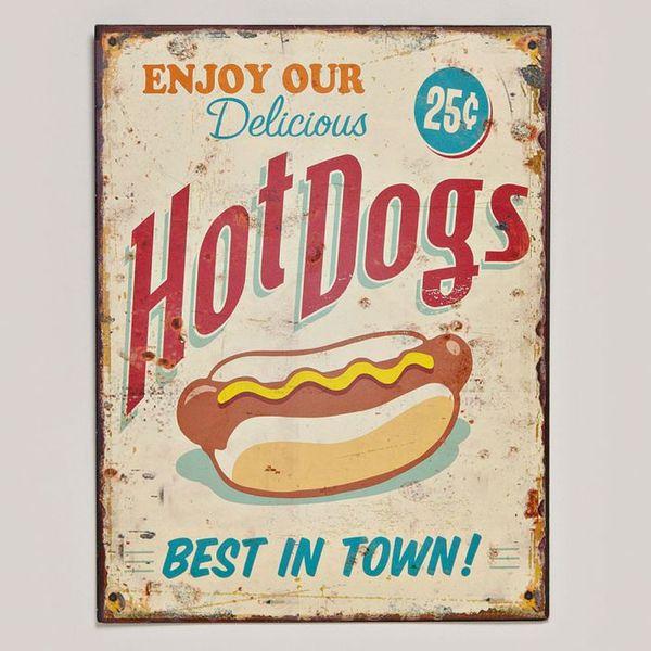 Metallschild zum Hängen im Vintage Design HOT DOGS 33x25cm