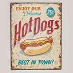 Metallschild zum Hängen im Vintage Design HOT DOGS 33x25cm 001
