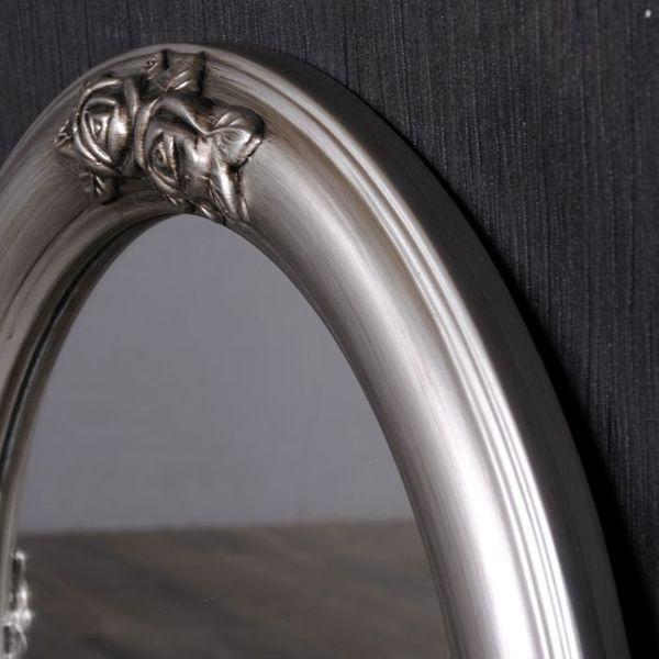Spiegel TAHANI barock oval silber-antik 50x40cm – Bild 5