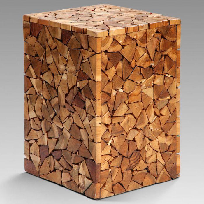 Holzhocker Massiv Hocker TEAK Holz Recycelt